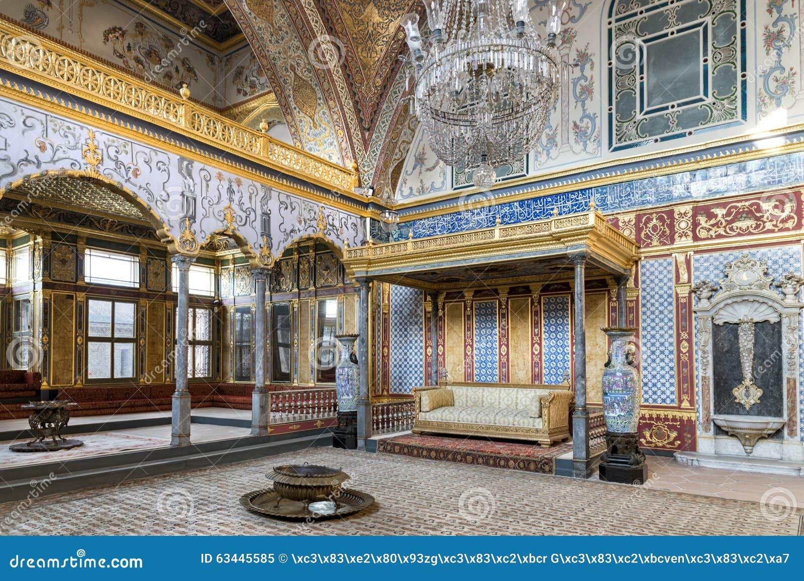 Biskopsstolrum på avsnittet för Topkapi slottharem, Istanbul, Turkiet