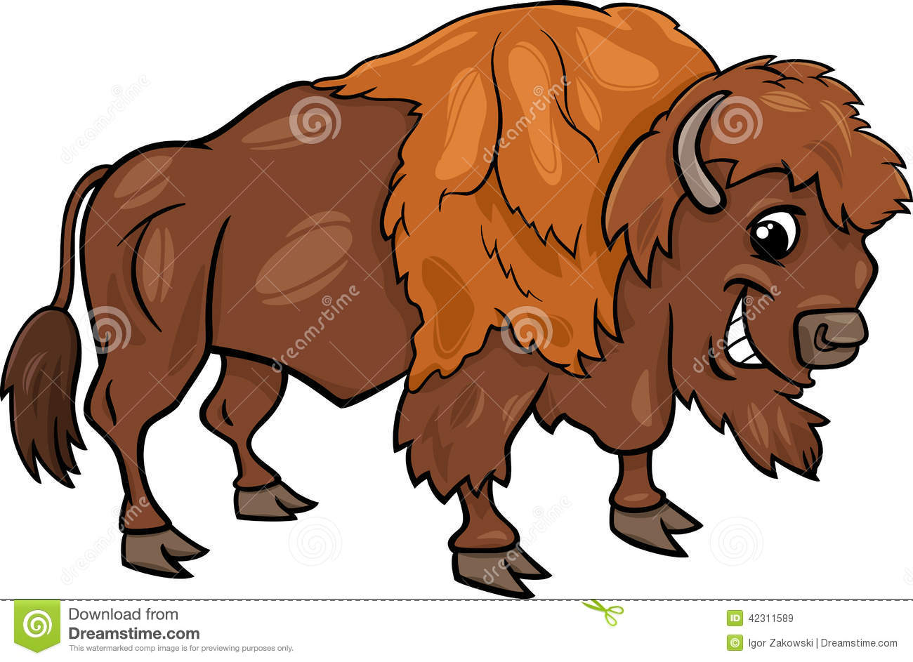 Bison American Buffalo Cartoon Illustration Stock Vector Image