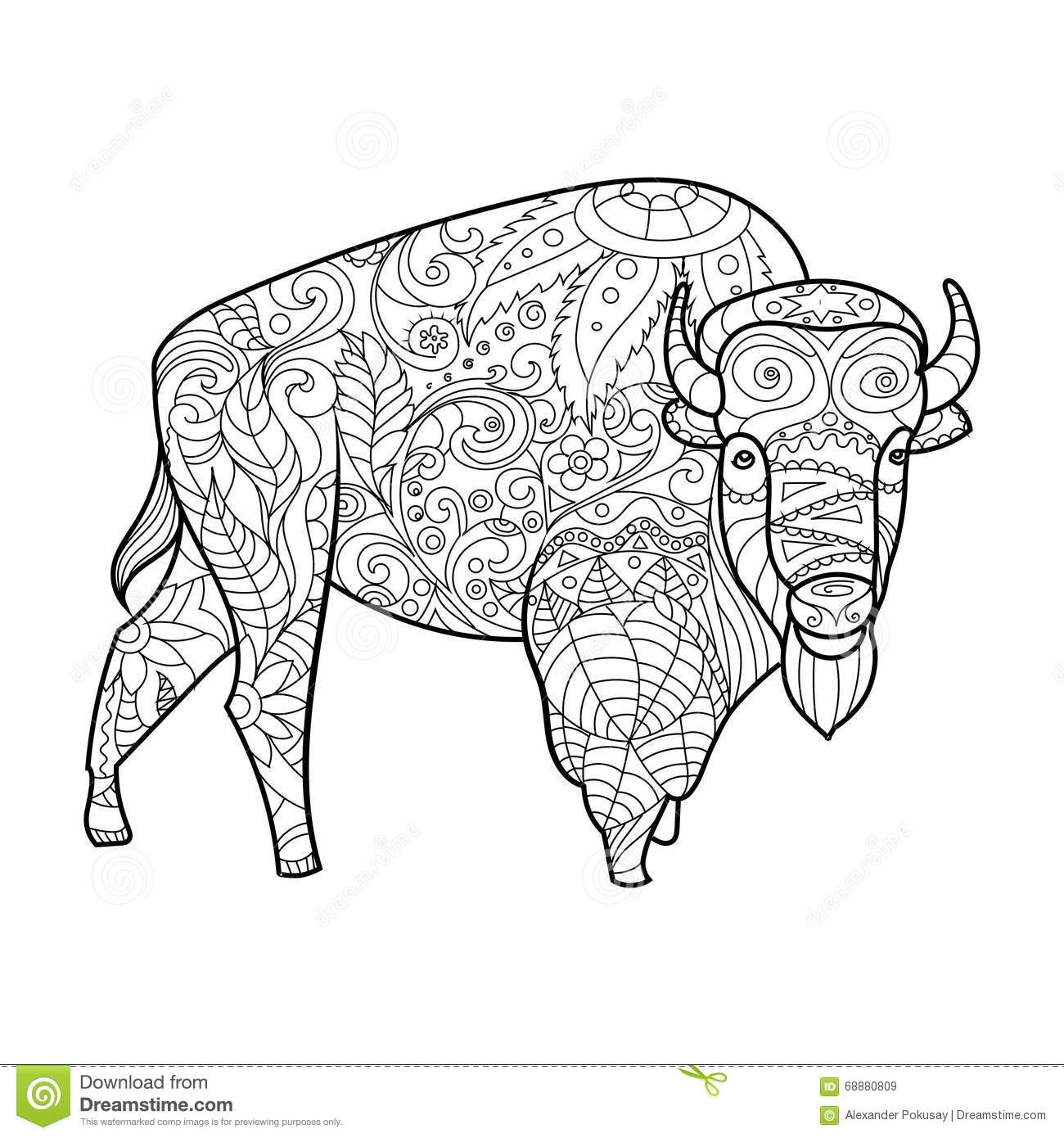 Bison animal coloring book for adults vector stock vector for Bison coloring pages
