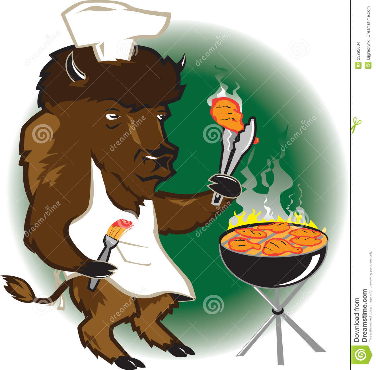 bison grill chef stock vector. illustration of grill - 23295004