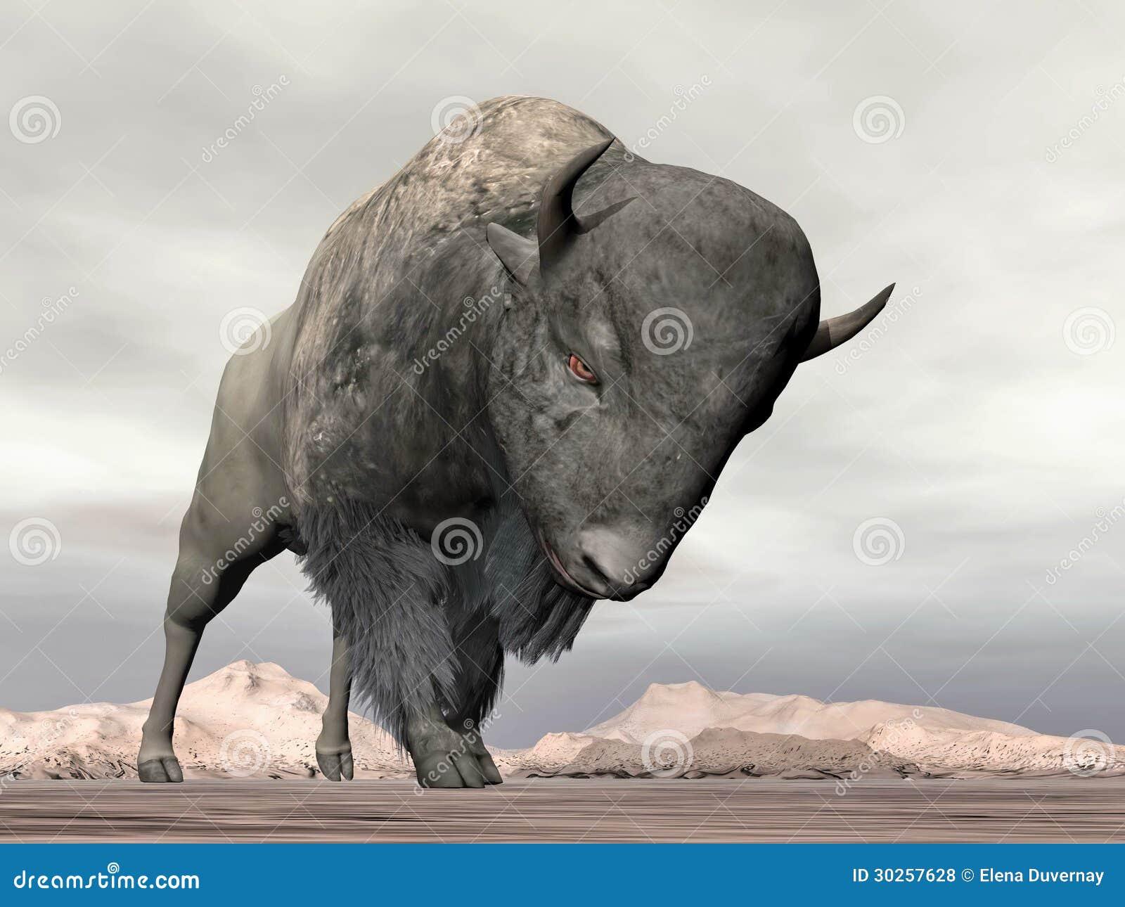Bison Charging Bison charging - 3D render