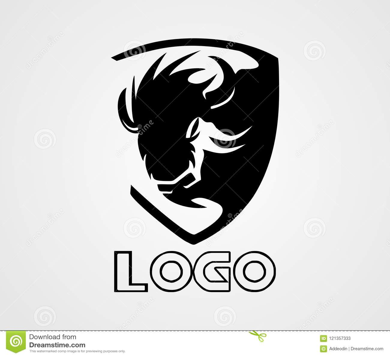 Bison Logo Vector, djur logo