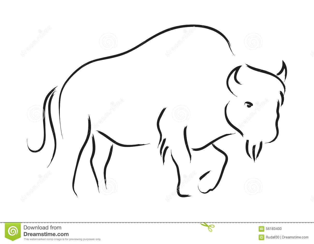Simple Line Artwork : Bison stock vector image