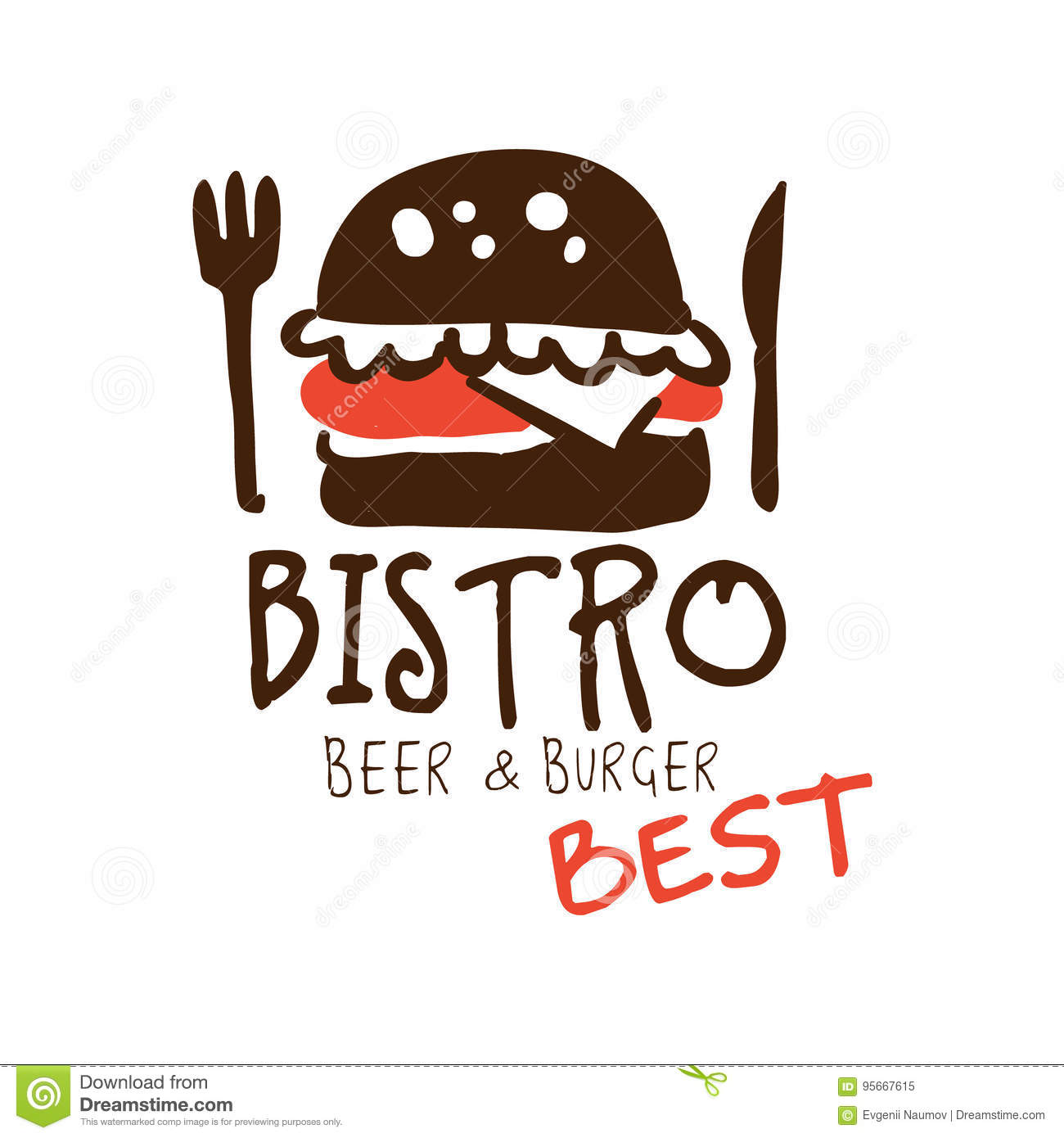 Bistro Beer And Burger Logo Template Hand Drawn Colorful Vector Illustration Stock Vector Illustration Of Banner Lunch 95667615