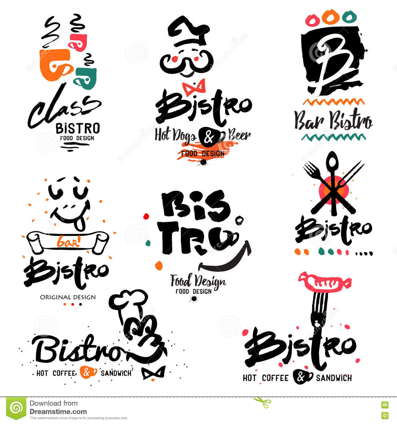 Bistro Logo Images And Design Elements Stock Vector Illustration