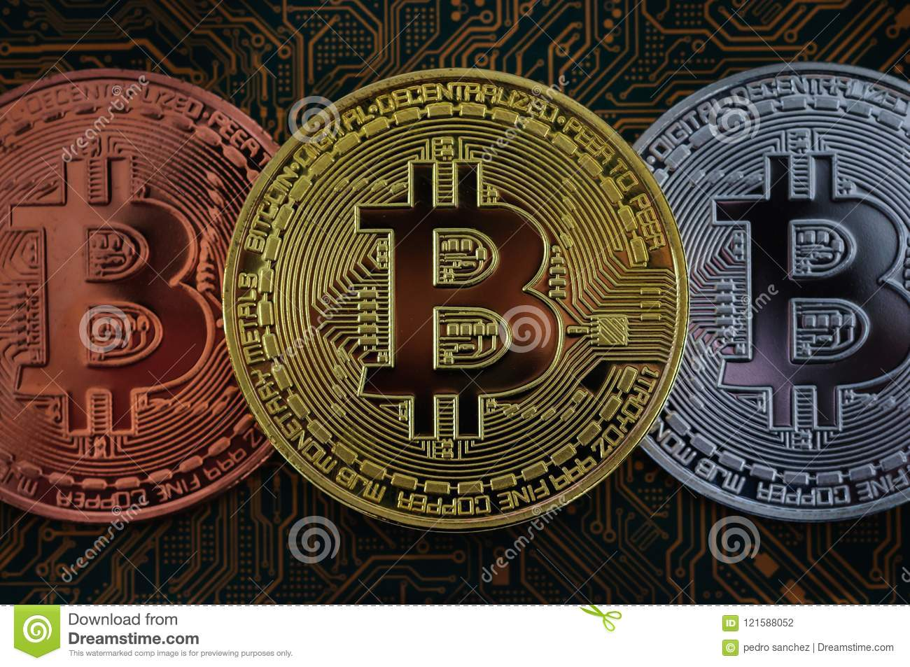 Bit coin concept. gold coin,computer circuit board with bit coin processor and microchips, electronic currency, e-commerce, intern