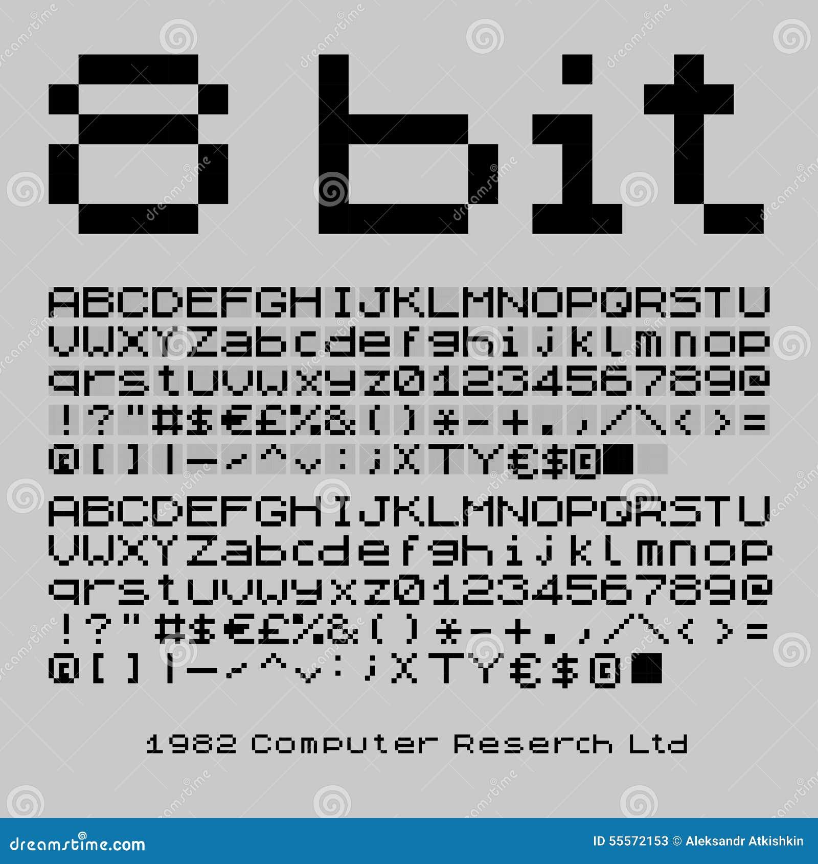 8 Bit Font Stock Vector Illustration Of System Pixelated