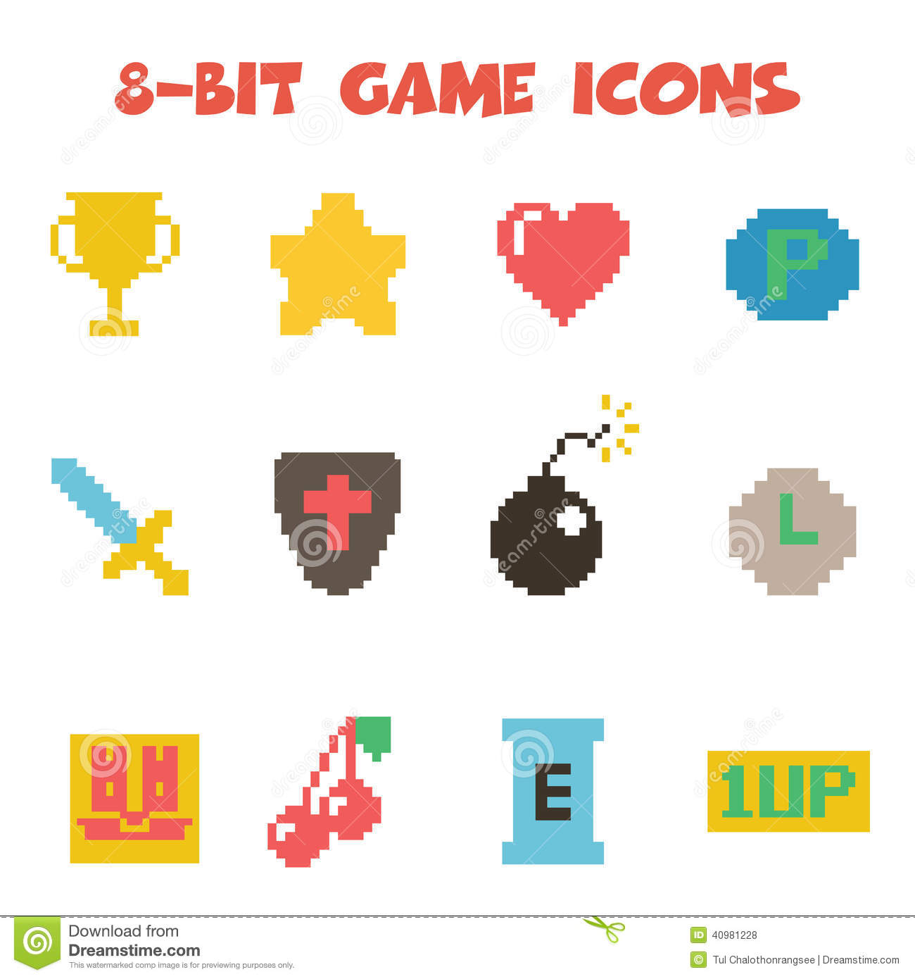 8 bit item icons color stock vector. Image of bomb ... - photo#1