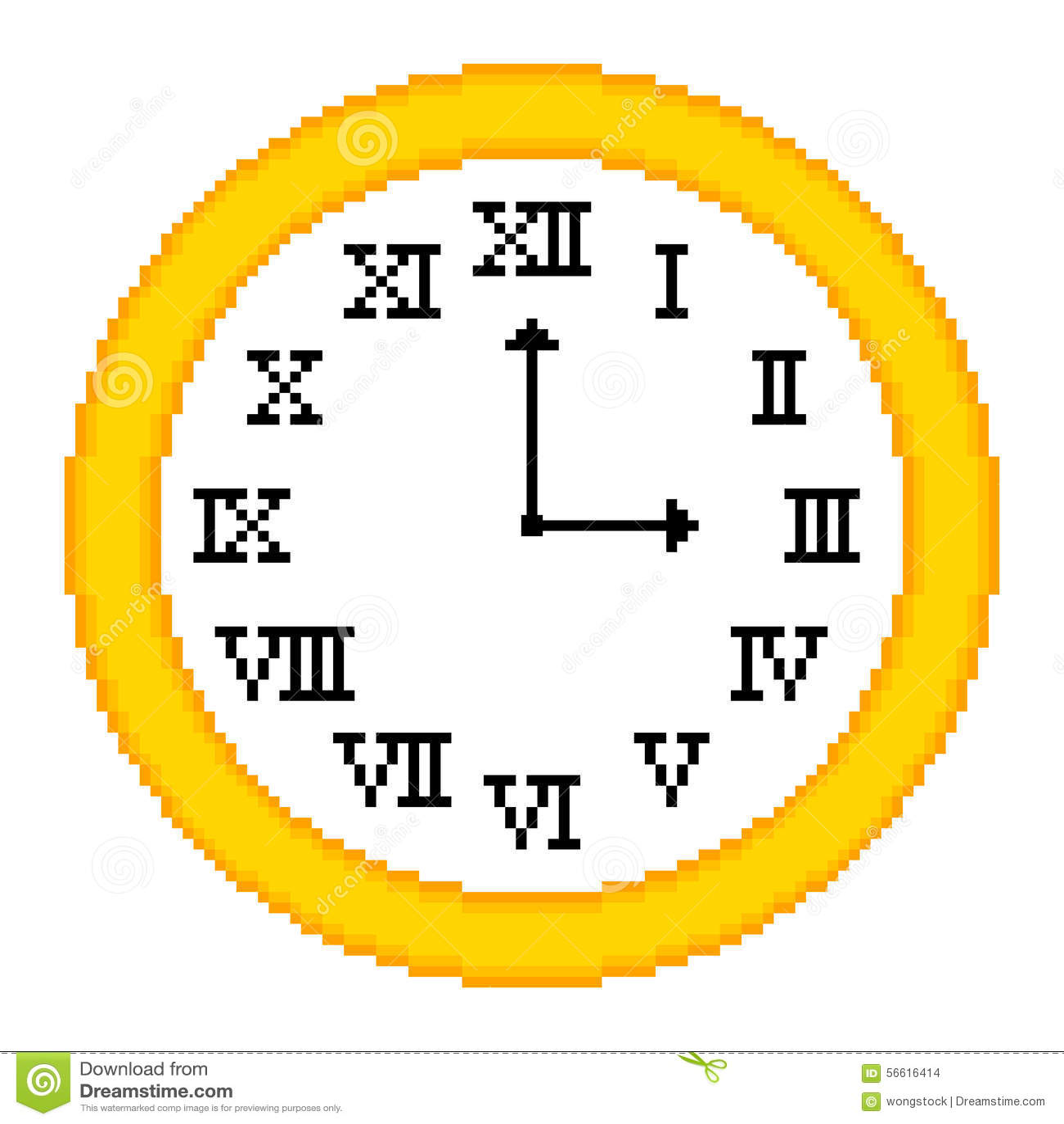 8 Bit Pixel Art Roman Numeral Clock Stock Vector Illustration Of - 3-roman-numerals-clocks
