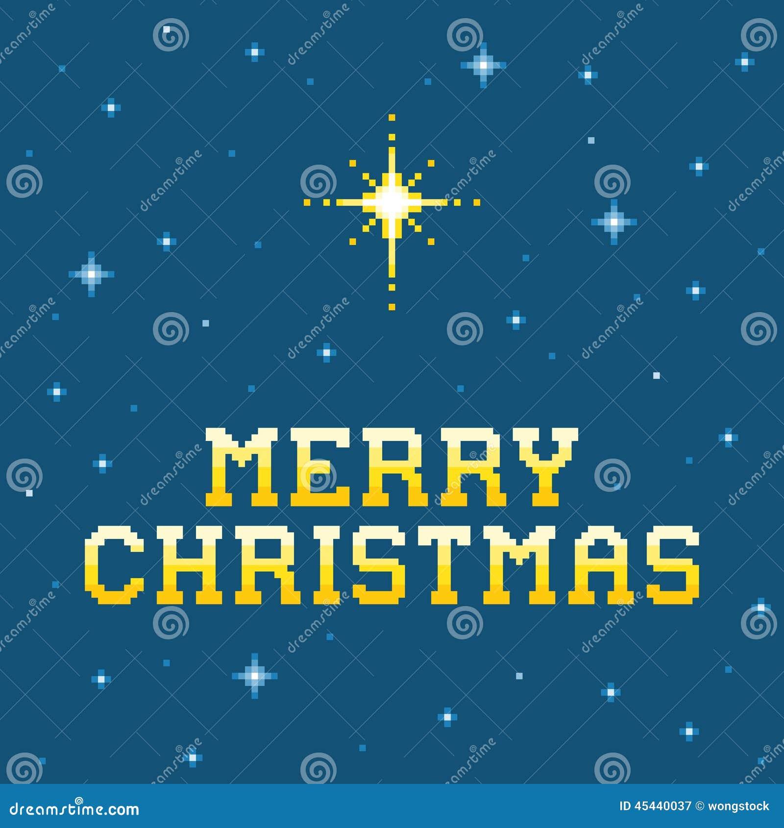 8-Bit-Pixel-fröhliche Weihnachtsbotschaft Mit Stern Von Bethlehem ...