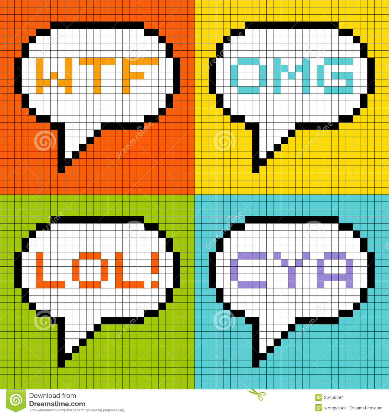 8 bit pixel 3 letter acronyms in speech bubbles stock Cookie Monster Coloring Pages Baby Cookie Monster Vector