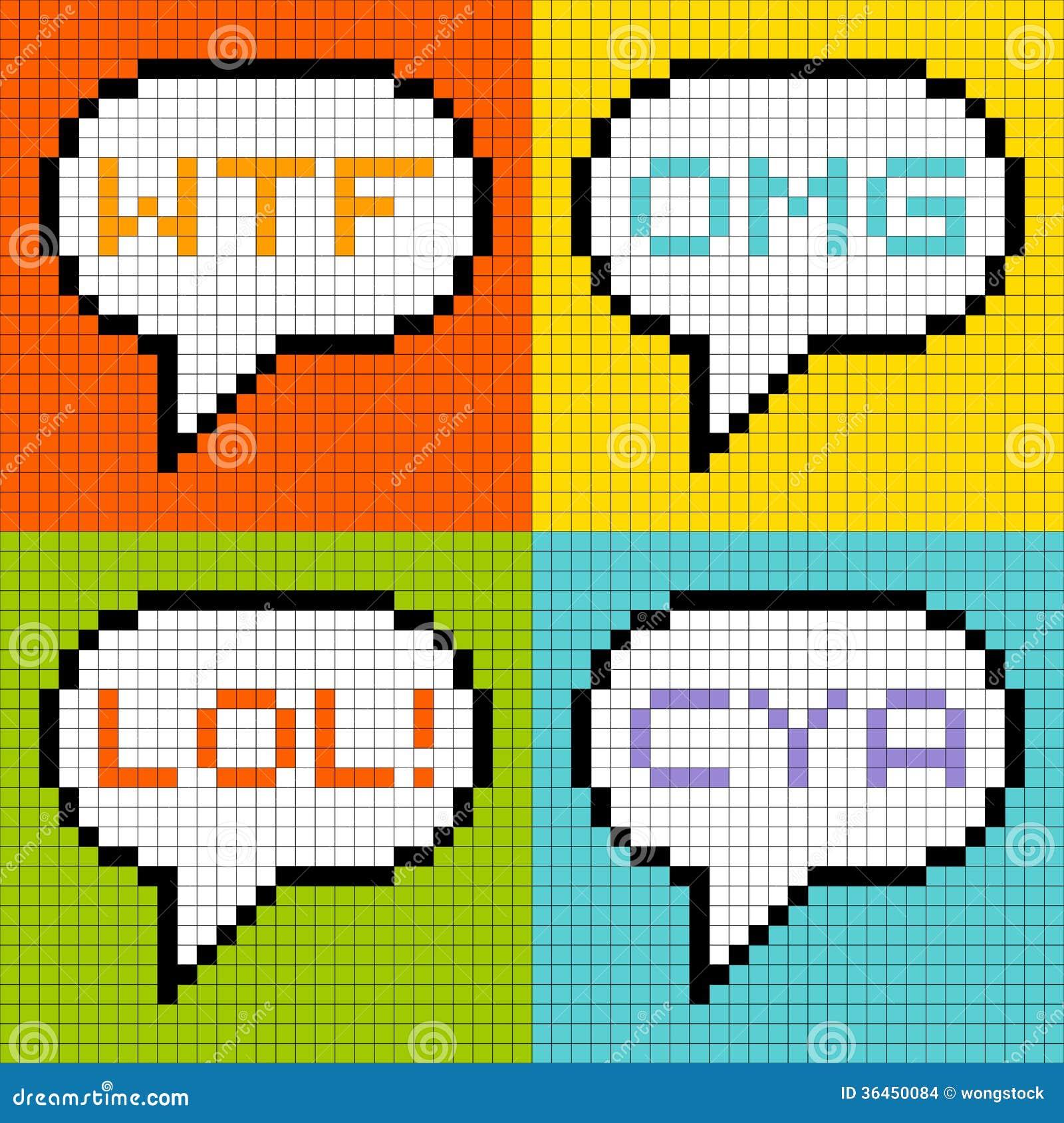 8bit pixel 3letter acronyms in speech bubbles stock