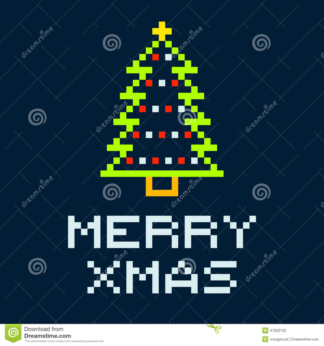 8-bit Pixel Merry Xmas Christmas Tree Stock Vector - Image: 47933132
