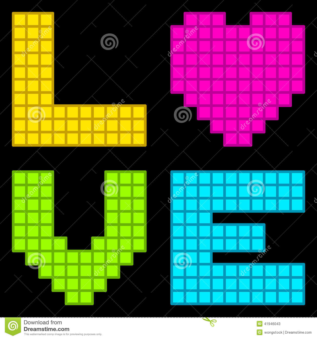 8 bit retro pixel love heart stock vector illustration of love text 41946043. Black Bedroom Furniture Sets. Home Design Ideas