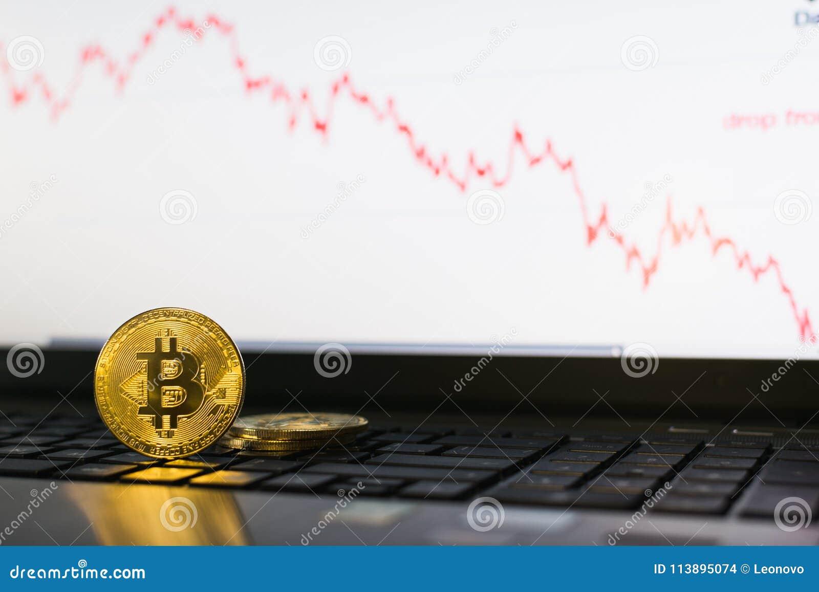 Bitcoin站立在有下降的图的膝上型计算机键盘的cryptocurrency硬币在背景