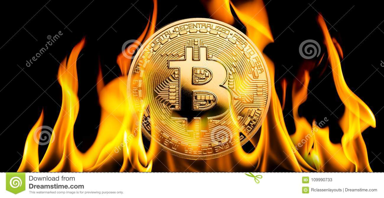 Bitcoin - κάψιμο χρημάτων cryptocurrency BTC στις φλόγες