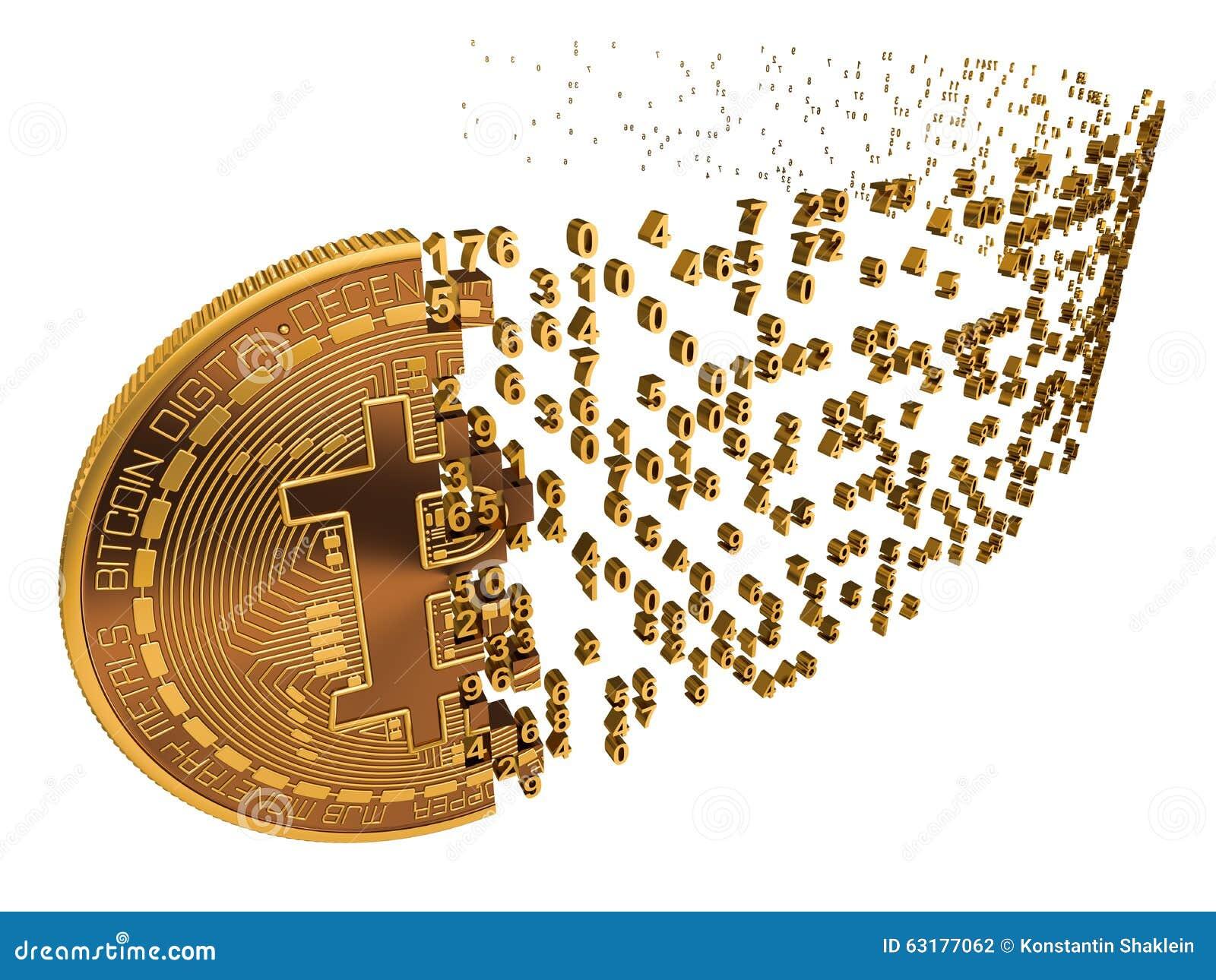 Bitcoin που καταρρέει στα ψηφία στο λευκό
