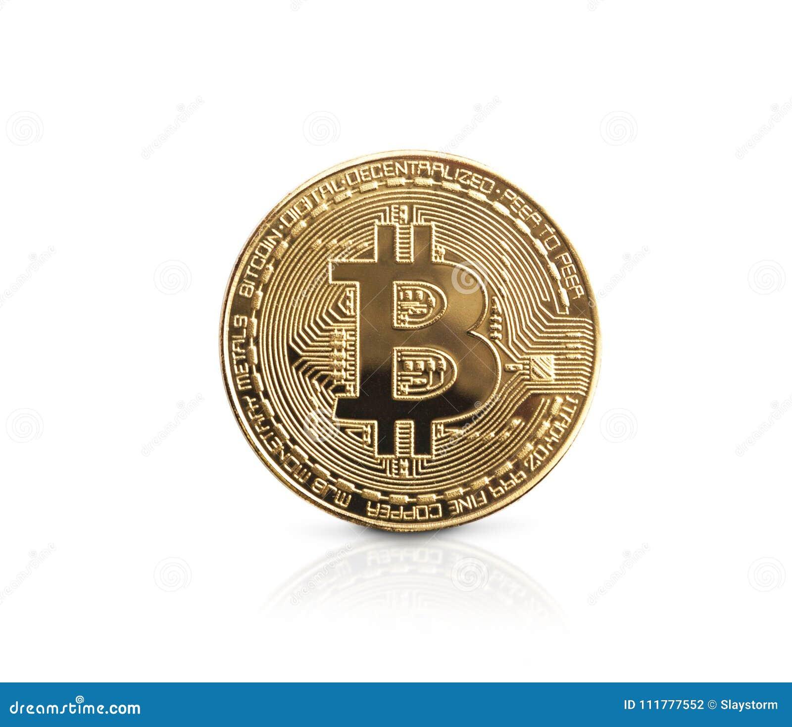Bitcoin Золотое Bitcoin изолированное на белой предпосылке