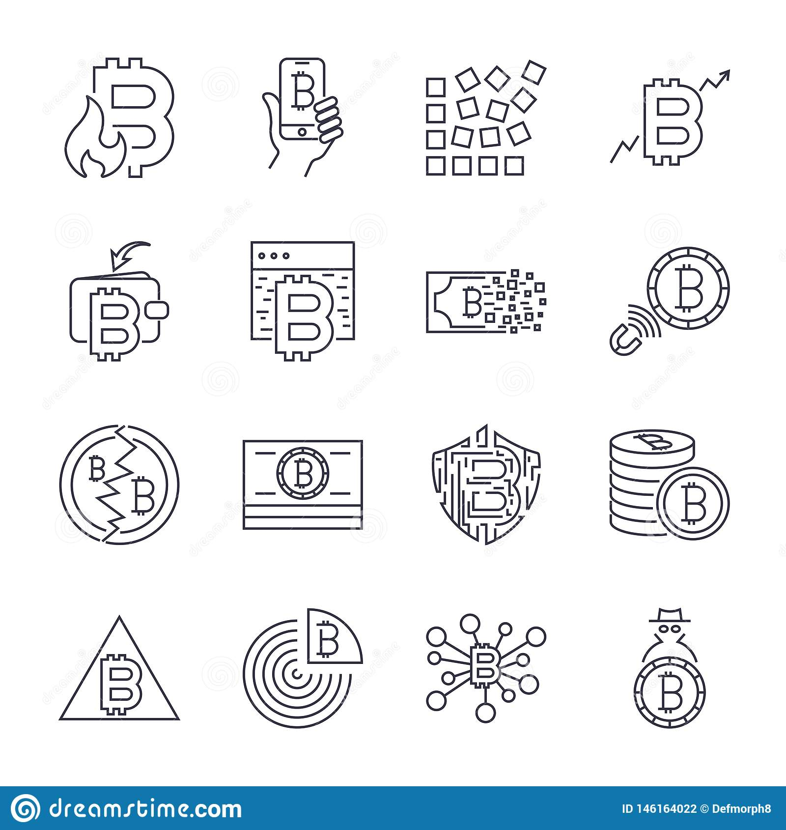 Bitcoin, набор значка значков Cryptocurrency тонкий monochrome, черно-белый набор :