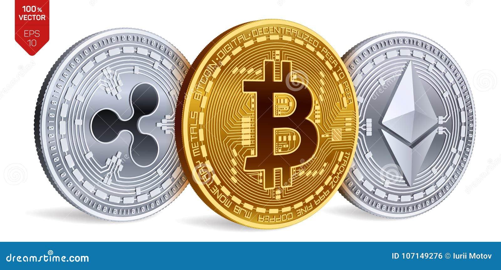Bitcoin пульсация Ethereum равновеликие физические монетки 3D Валюта цифров Cryptocurrency также вектор иллюстрации притяжки core