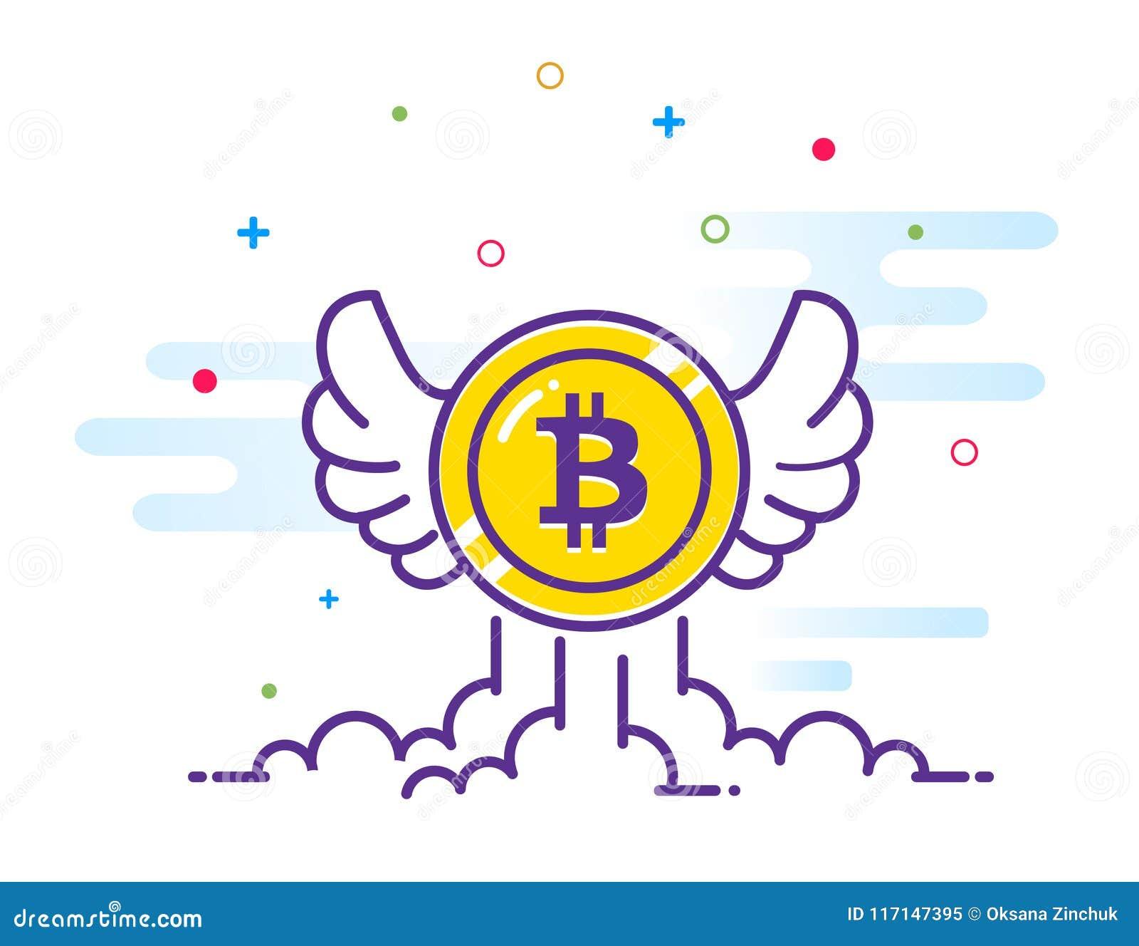 Bitcoin с иллюстрацией квартиры крылов Летание значка Bitcoin в небе Секретная монетка бита валюты Эмблема Cryptocurrency