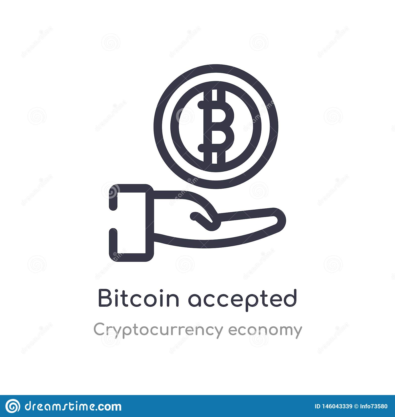 bitcoin accepted outline icon. isolated line vector illustration from cryptocurrency economy collection. editable thin stroke