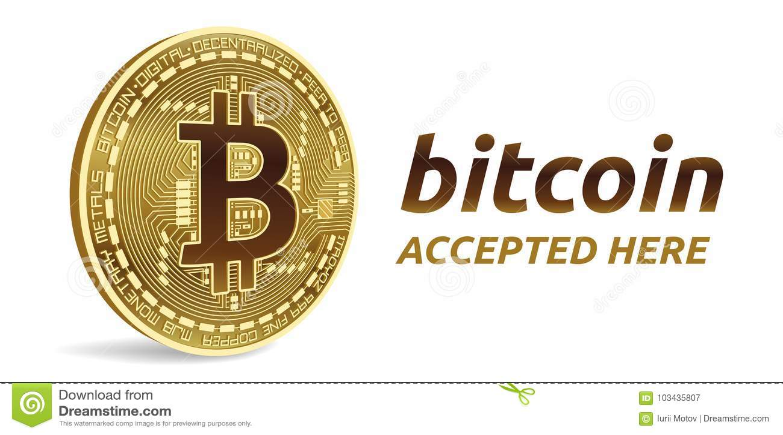 Bitcoin aceptó el emblema de la muestra moneda física isométrica del pedazo 3D con el marco y texto aceptado aquí Ilustración com