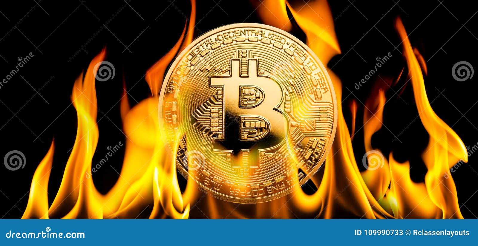 Bitcoin - argent de cryptocurrency de BTC brûlant en flammes