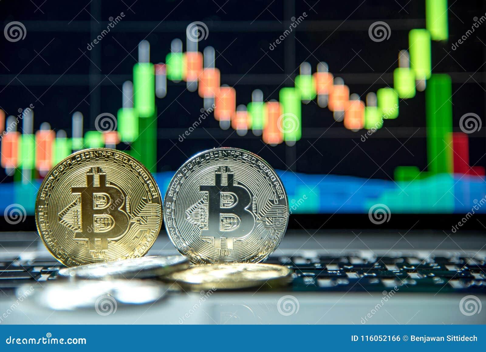 Bitcoin avec le graphique de chandelier, le cryptocurrency et le payme numérique