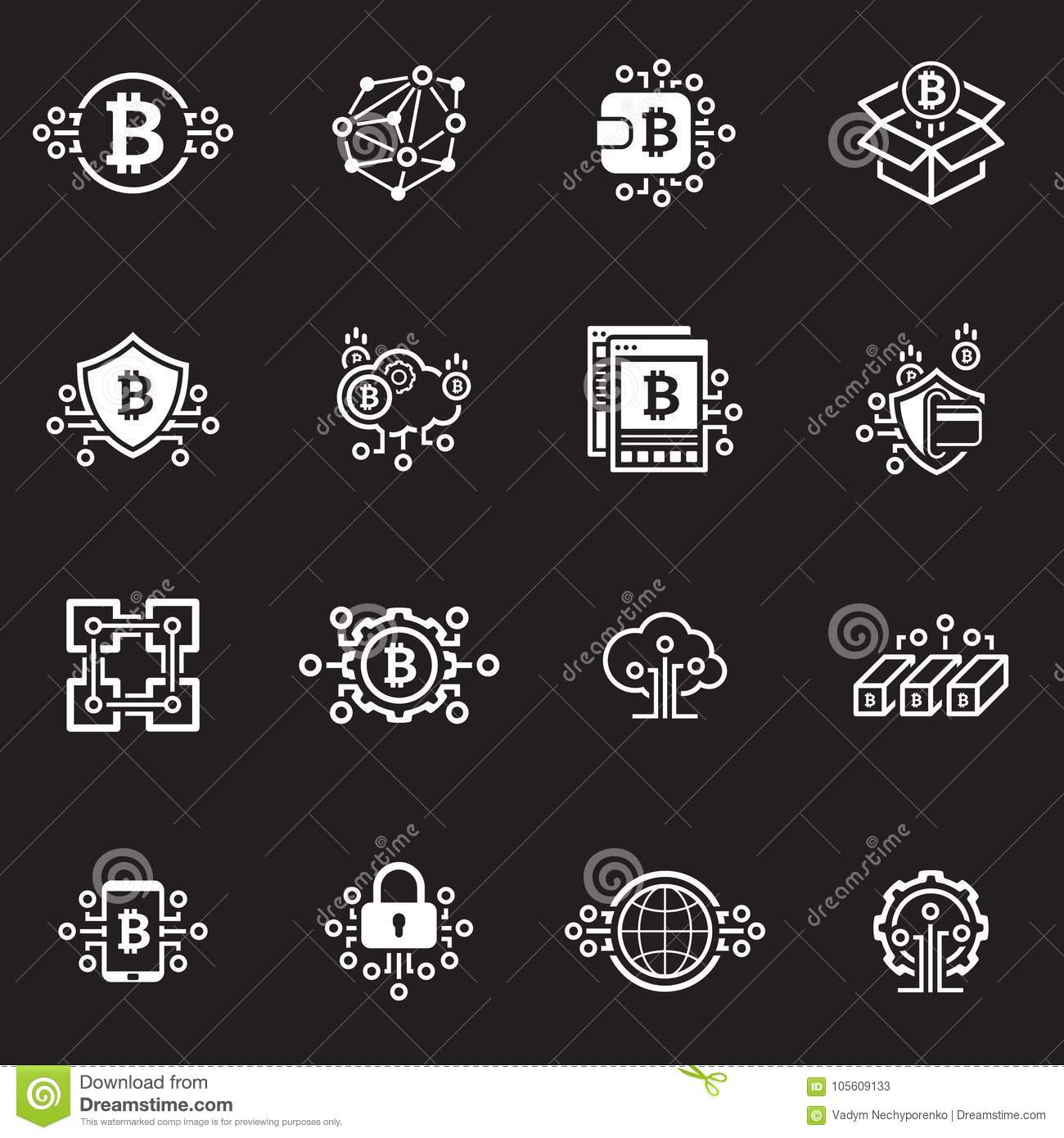 Bitcoin And Blockchain Cryptocurrency Icons