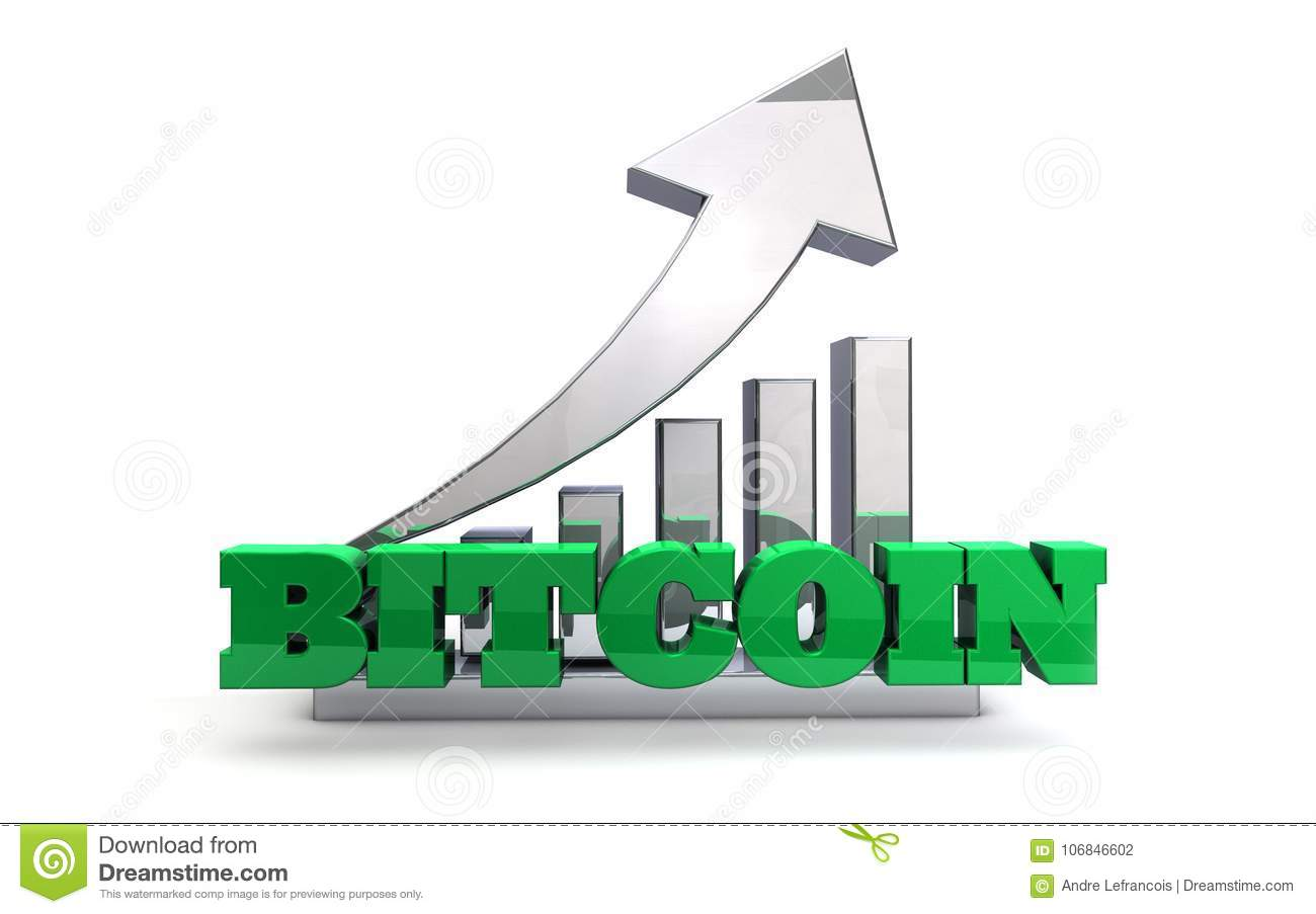 Bitcoin Blockchain Currency Increase In Value Stock Illustration