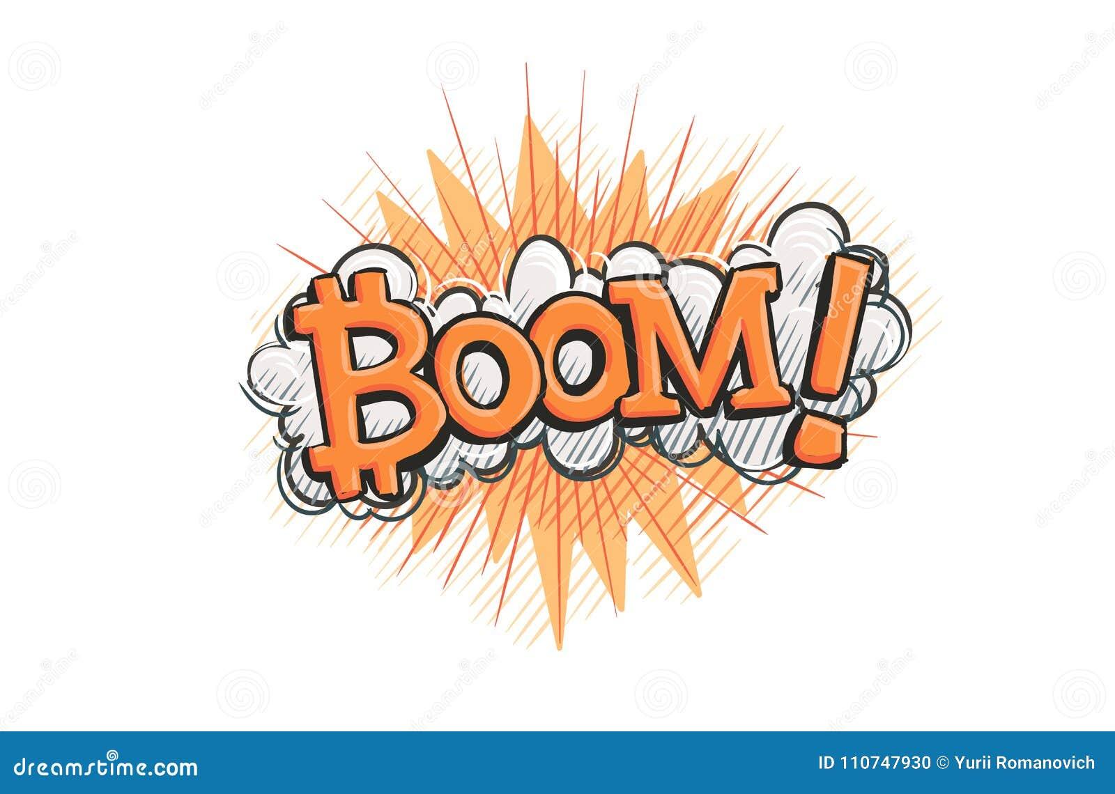 Bitcoin Boom Concept Pop Art Illustration  Vector  Stock Vector