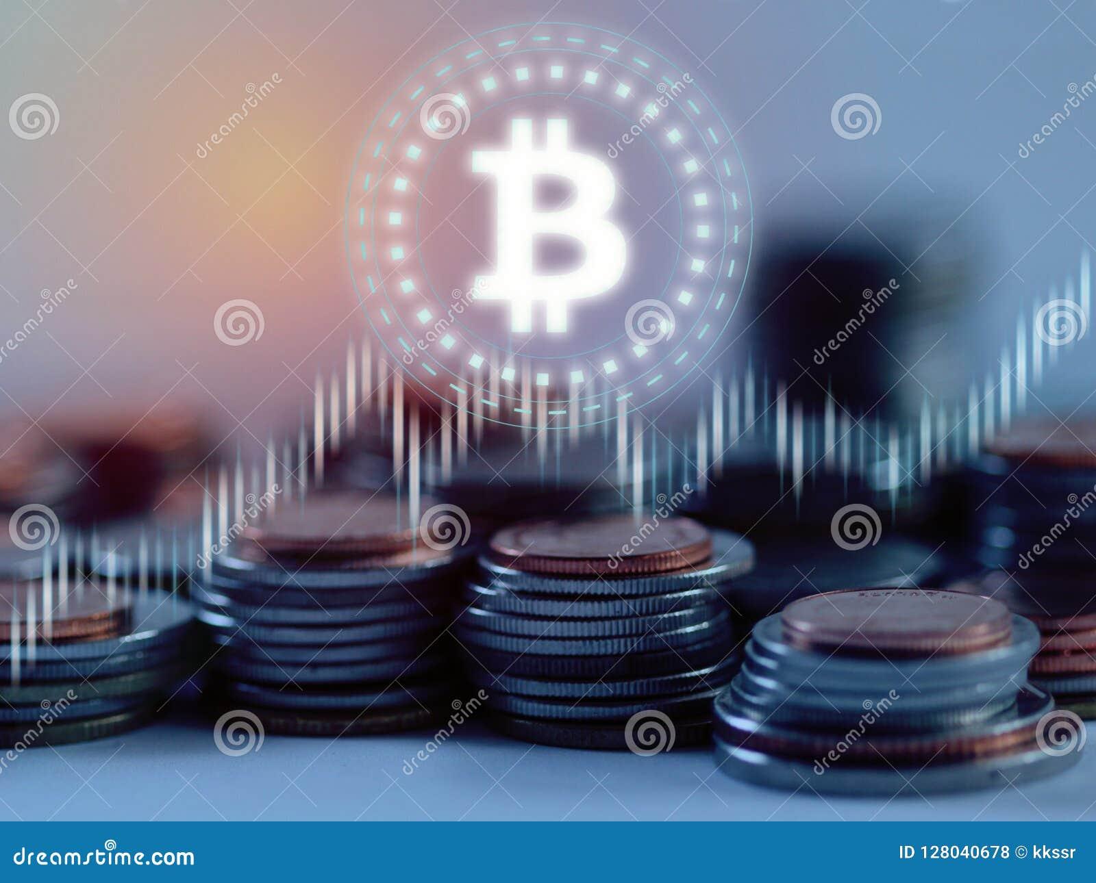 Bitcoin BTC łuna prowadząca nad stertą srebra i brązu monet narzuta z rynków papierów wartościowych rynków walutowych wykresem na