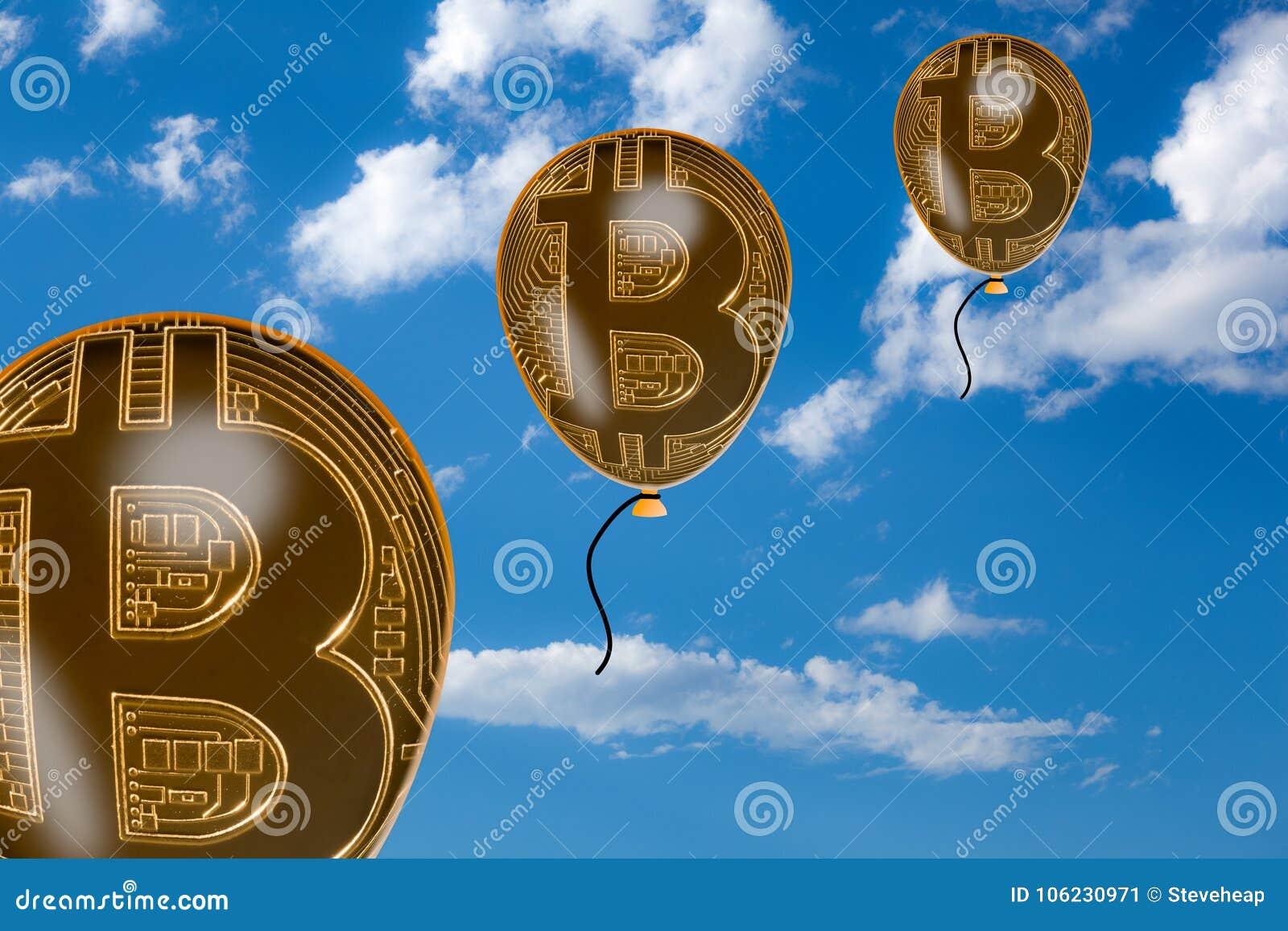 Bitcoin burbujea flotando en el cielo
