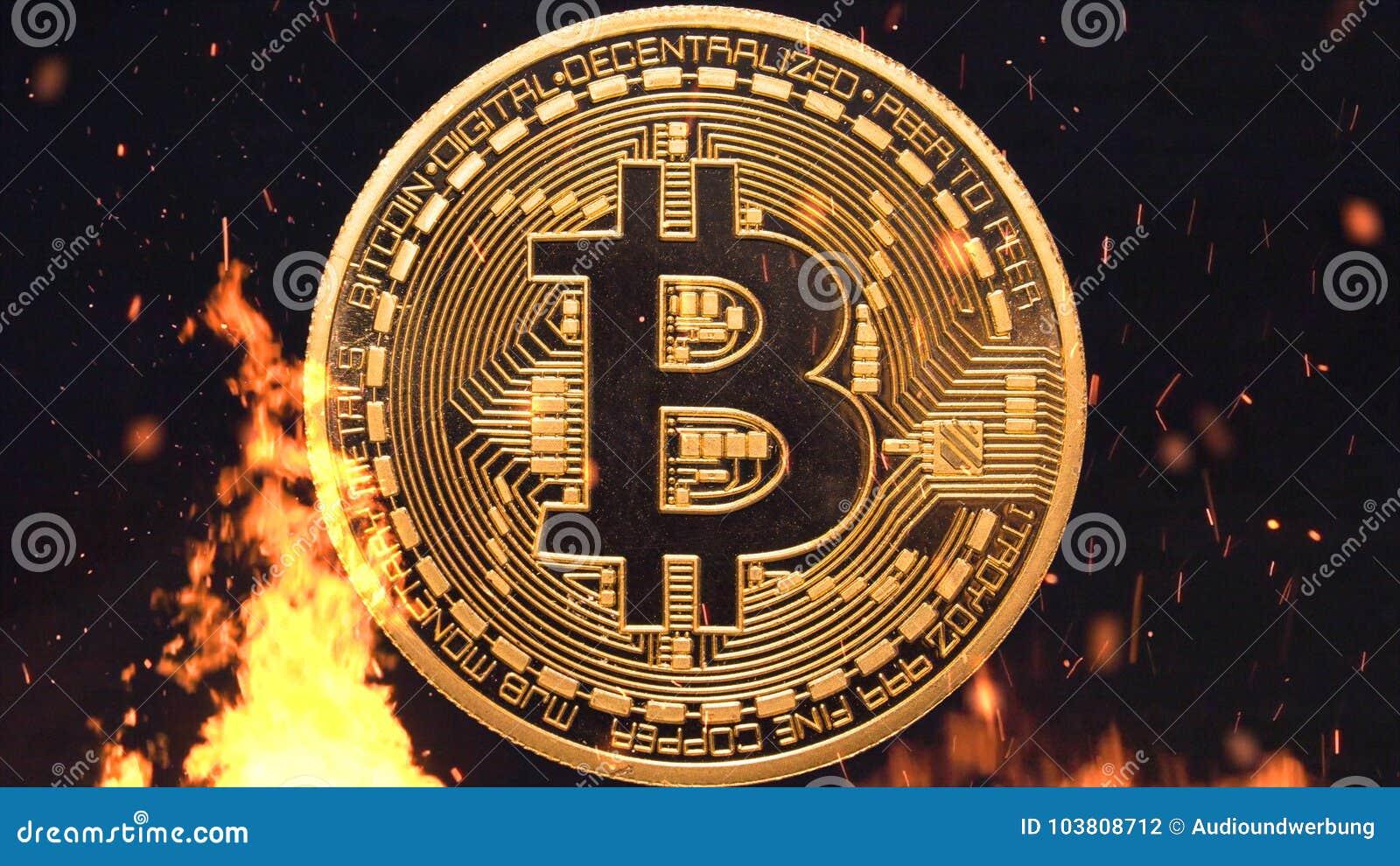 Bitcoin - burning d argent de devise de la pièce de monnaie BTC de peu crypto