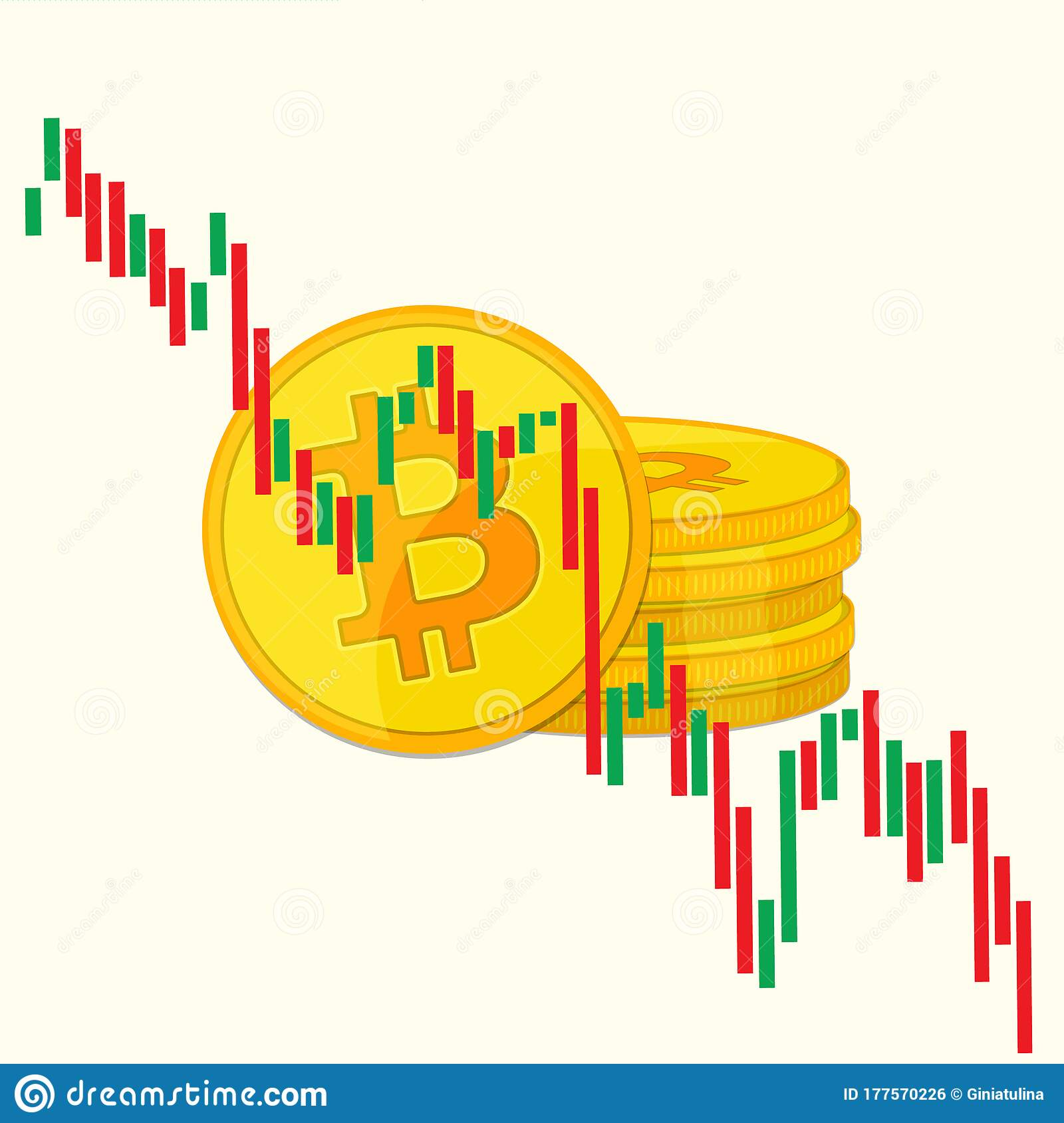 Bitcoin And Candlestick Chart Graphic Design. Price Of ...