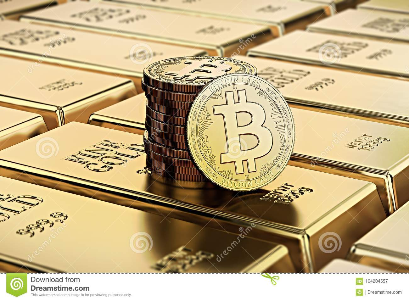 Bitcoin Cash Coins Laying On Stacked Gold Bars Ingots Rendered With Shallow Depth Of Field