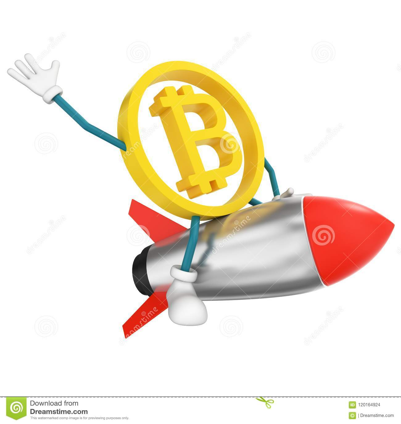 Bitcoin character flying on rocket