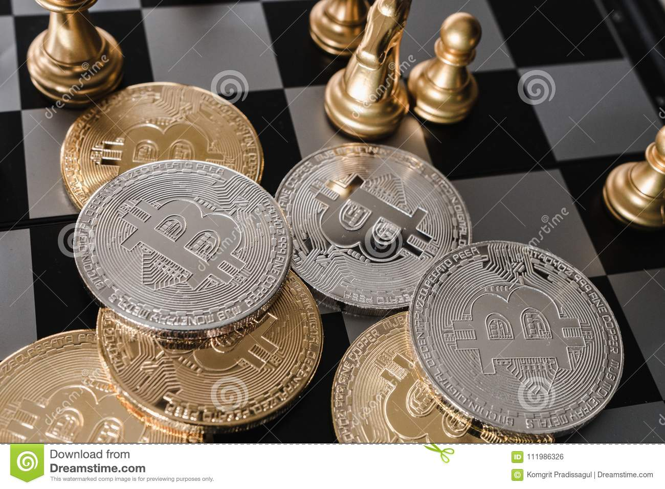 Bitcoin On Chess Board Game Of Business Ideas And Blank