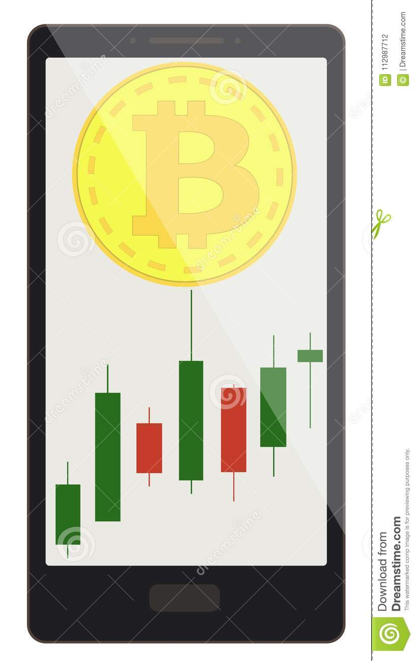 Bitcoin coin with candlestick chart on a phone screen