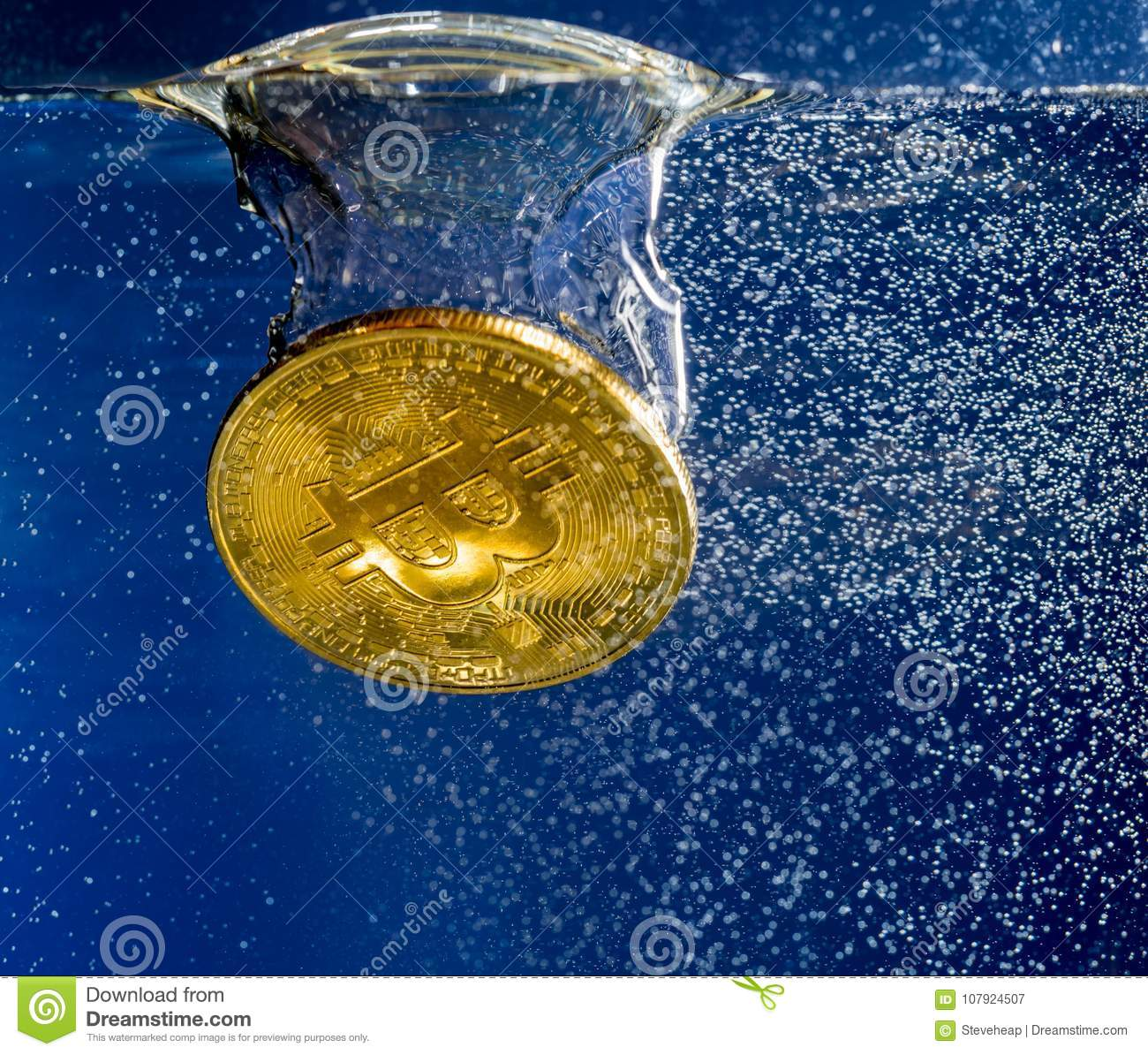 Bitcoin Sinking Through Water As Illustration Of Falling Price Stock Image - Image of finance ...