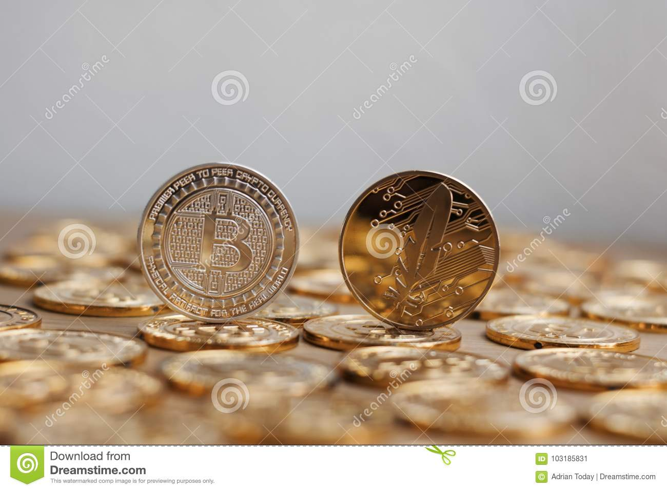 Digital Currency Physical Bitcoin Coin Gold Background Coins Concept