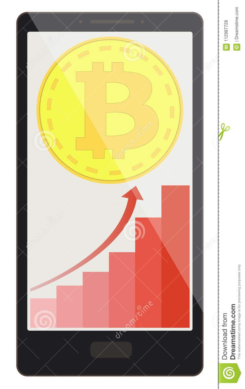 Bitcoin coin with growth graph on a phone screen