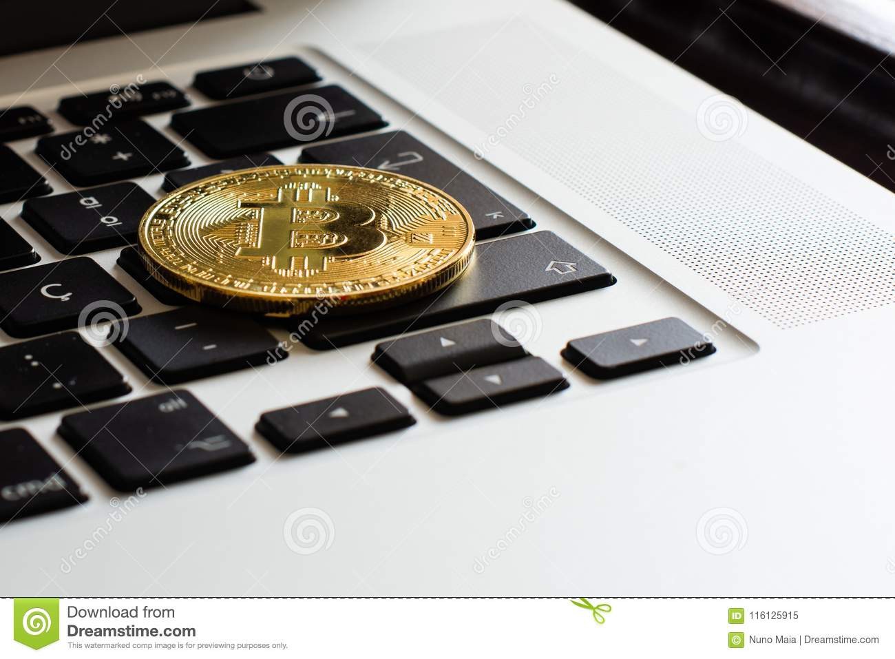 Bitcoin over a laptop`s keyboard