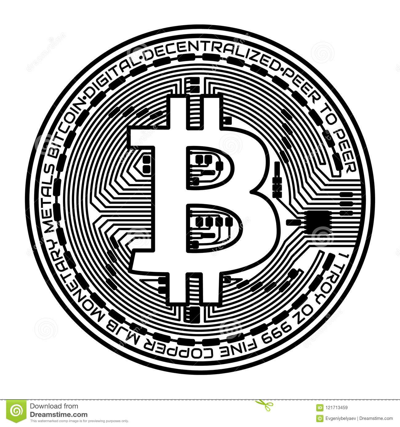 Bitcoin Coin On White Background. Vector Illustration ...