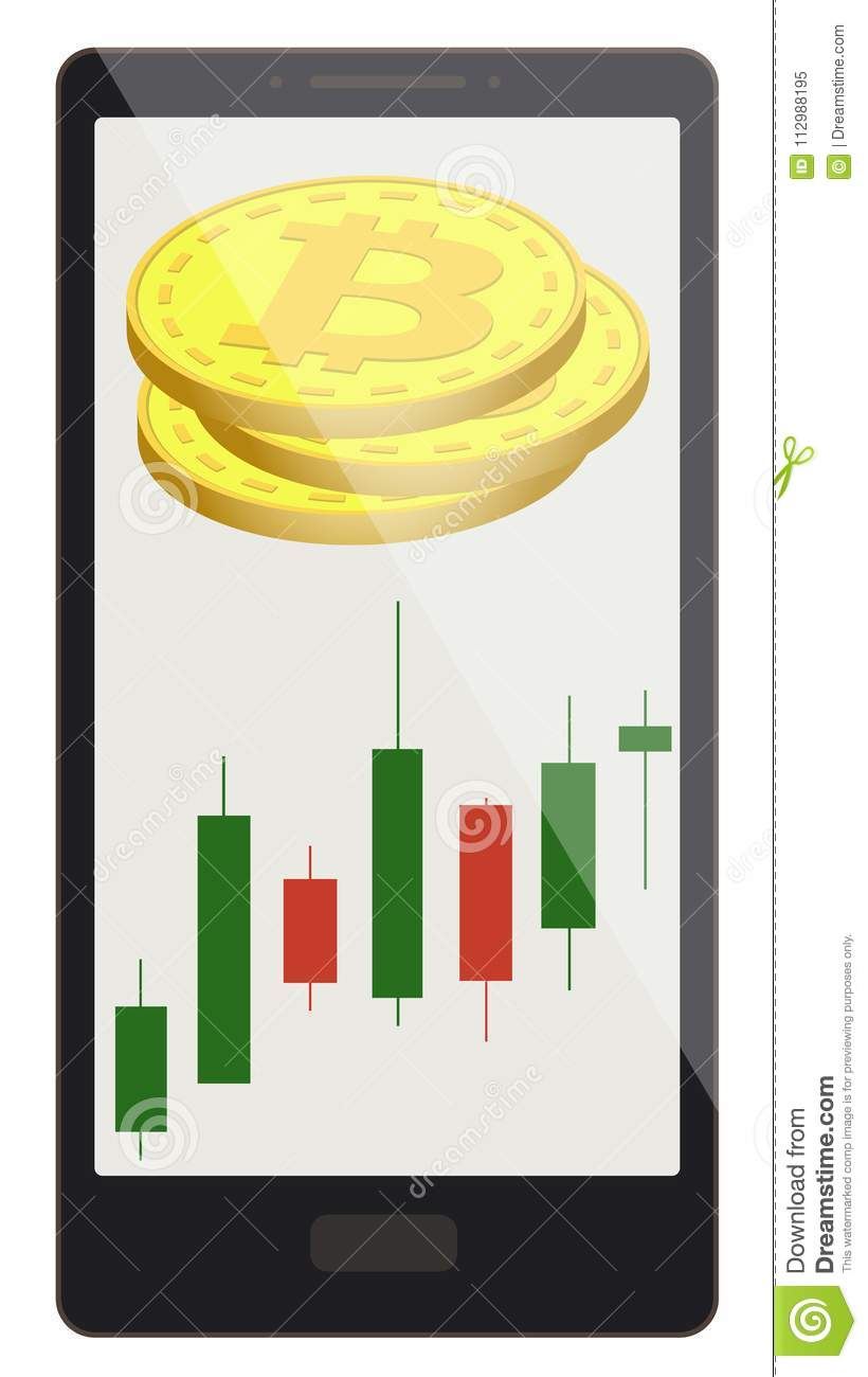 Bitcoin coins with candlestick chart on a phone screen