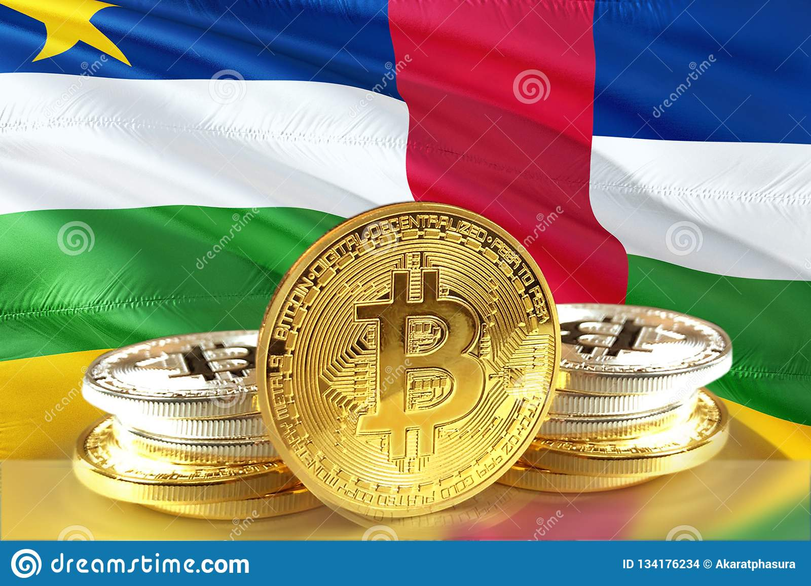 Bitcoin coins on Central African Republic Flag, Cryptocurrency, Digital money concept