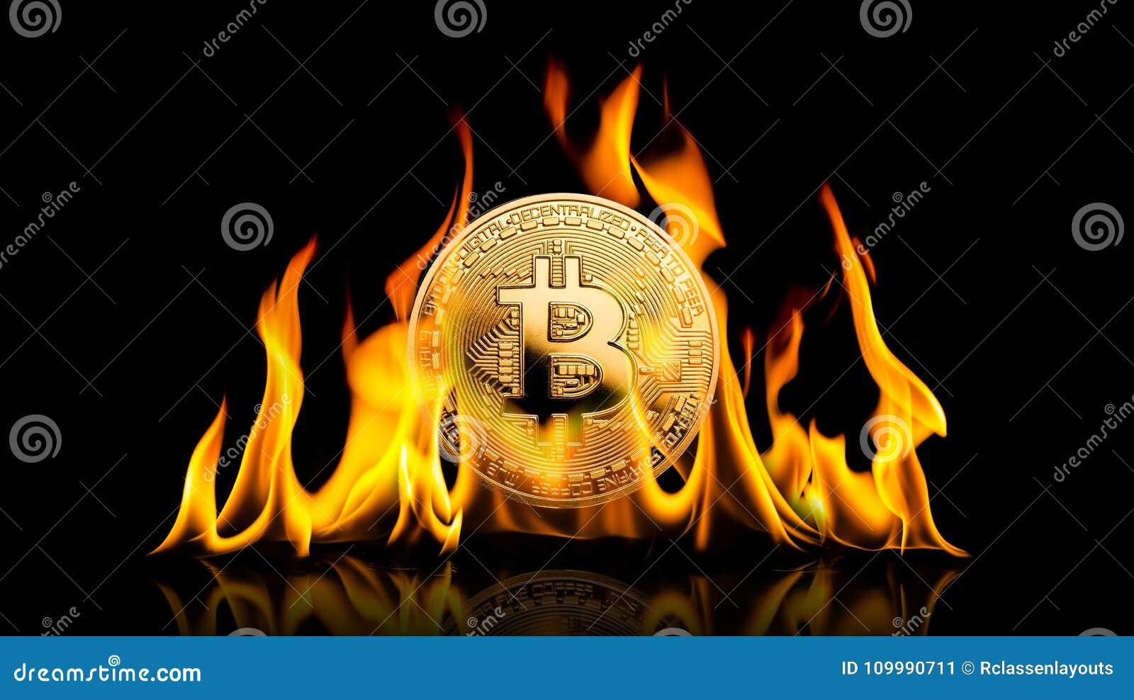 Bitcoin - combustione dei soldi di cryptocurrency della moneta BTC del pezzo in fiamme sopra