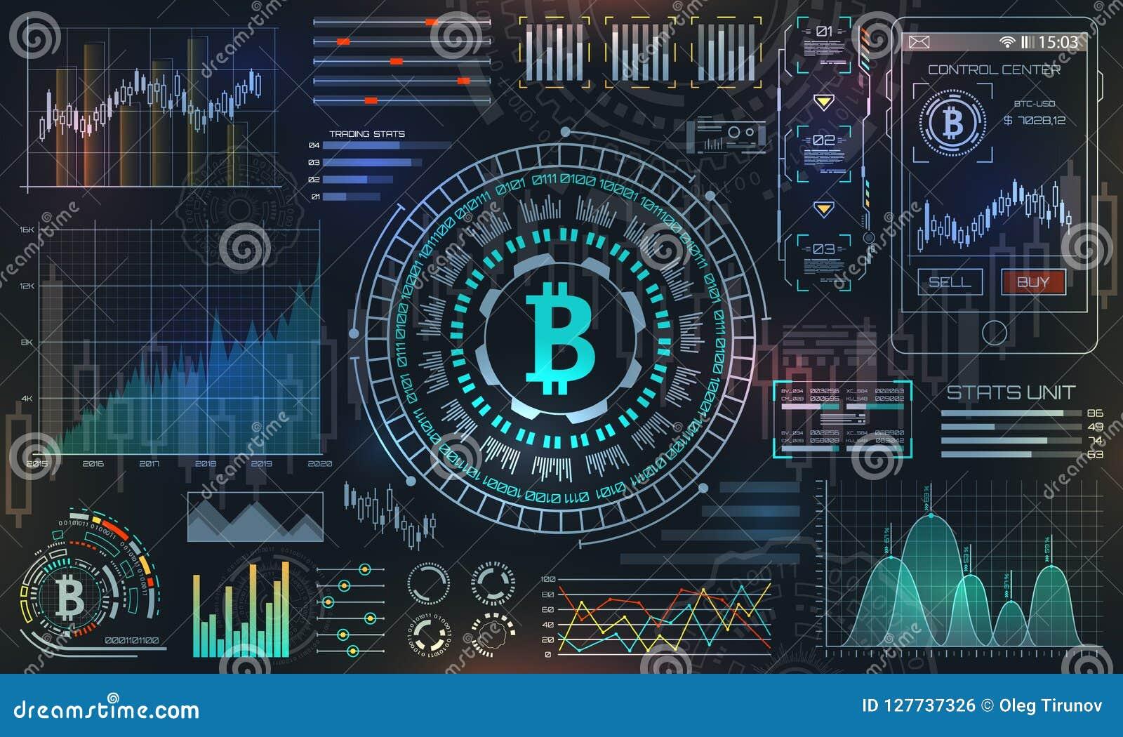 Bitcoin con HUD Elements, BTC, moneda del pedazo, dinero virtual, moneda Crypto