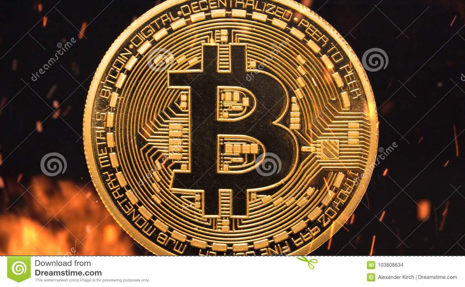 Bitcoin - crypto νομισμάτων BTC κομματιών κάψιμο χρημάτων νομίσματος